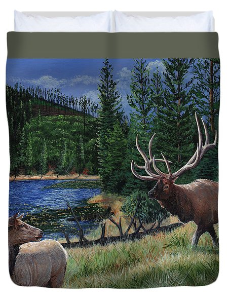 Elk At Beaver Lake  Yellowstone Duvet Cover