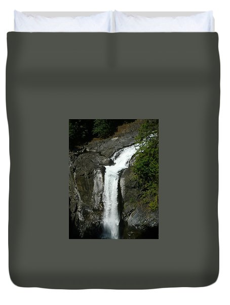 Duvet Cover featuring the painting Elk Falls  by 'REA' Gallery