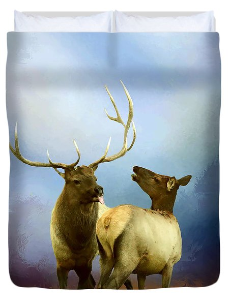Elk Feeling Frisky Duvet Cover