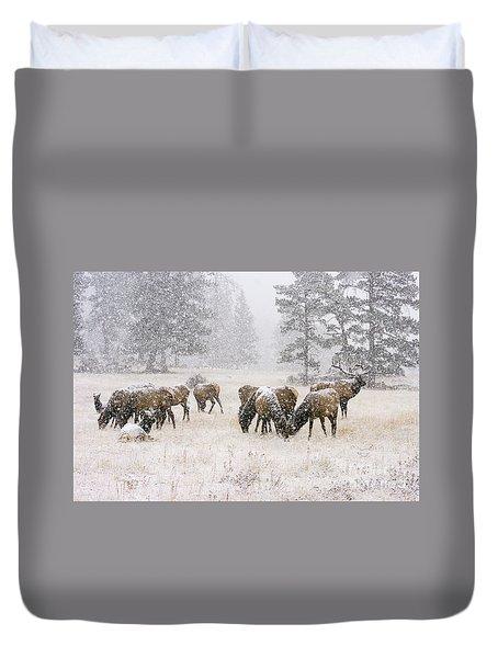 Elk In A Snow Storm - 1135 Duvet Cover