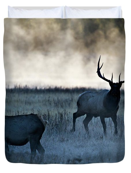Elk In The Mist Duvet Cover