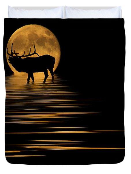Elk In The Moonlight Duvet Cover