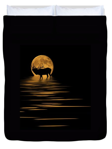 Elk In The Moonlight Duvet Cover