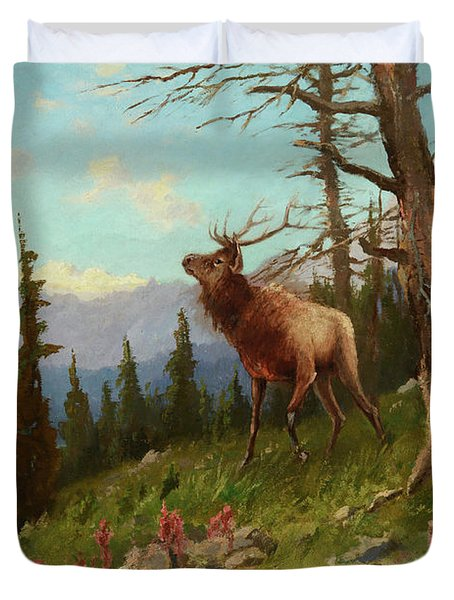 Elk In The Mountains Duvet Cover