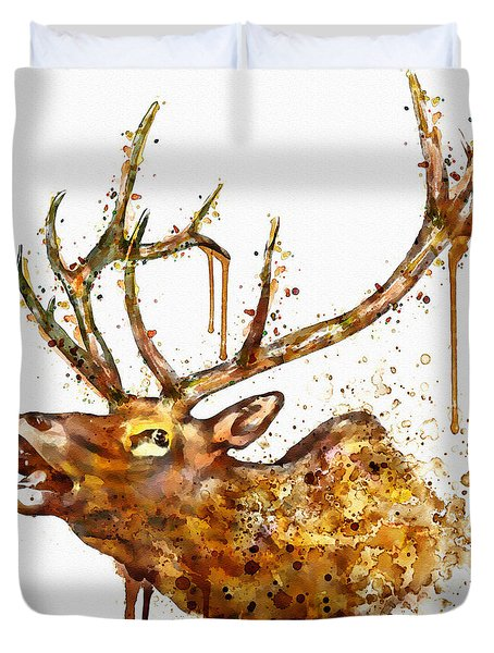 Elk In Watercolor Duvet Cover
