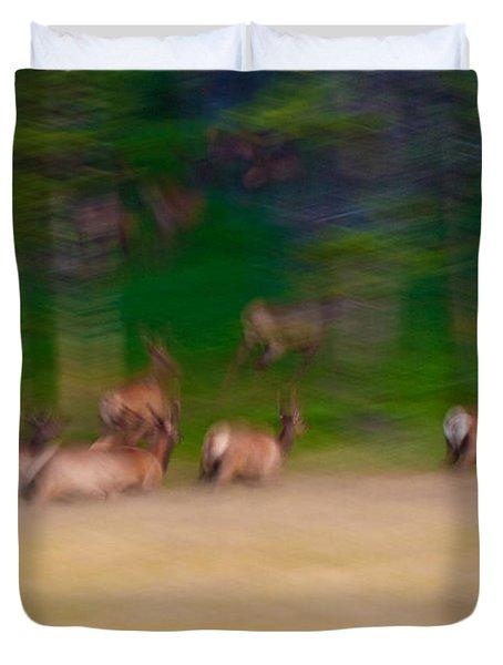 Elk On The Run Duvet Cover
