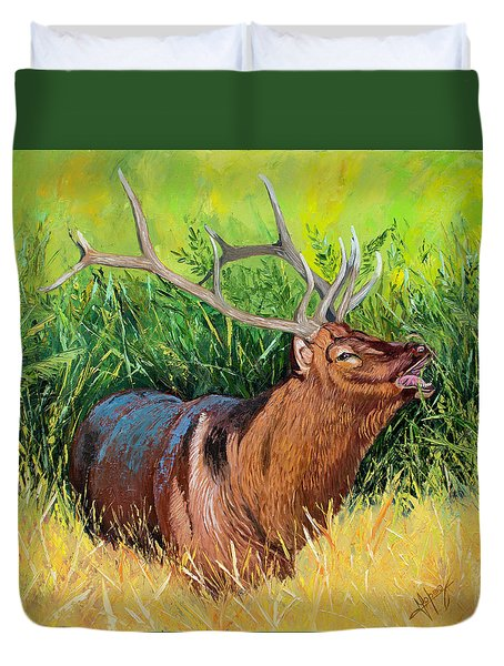 Elk Original Oil Painting On 24x24x1 Inch Gallery Canvas Duvet Cover