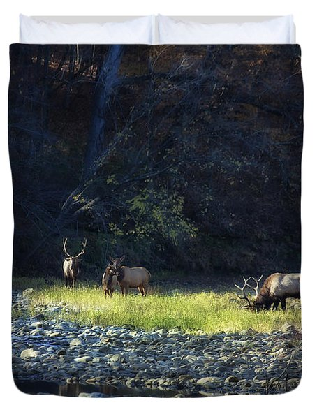 Duvet Cover featuring the photograph Elk River Crossing At Sunrise by Michael Dougherty