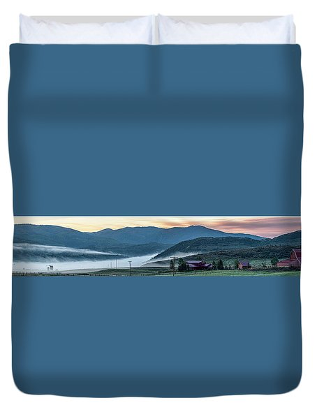 Elk River Fog At Sunrise Duvet Cover