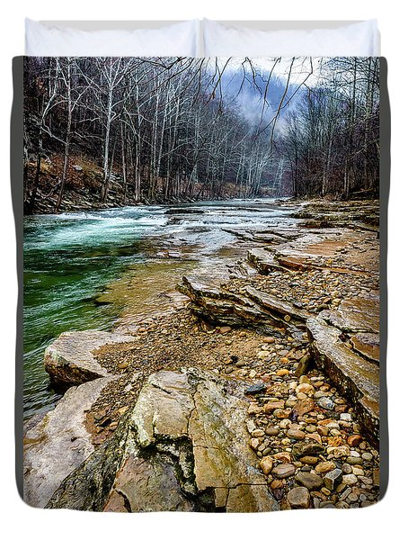 Duvet Cover featuring the photograph Elk River In The Rain by Thomas R Fletcher