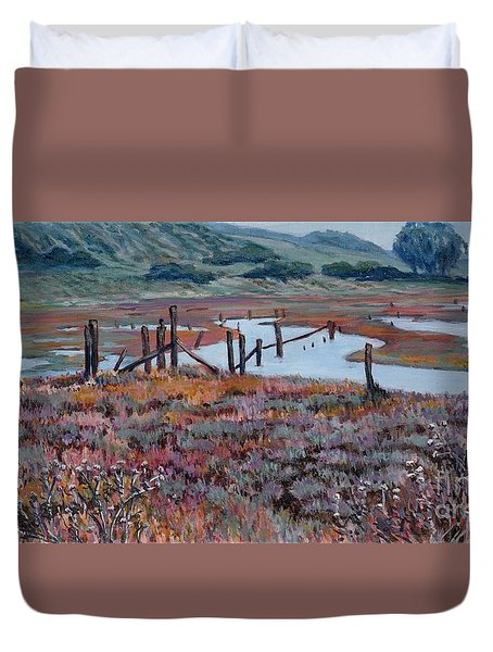 Elkhorn Slough Morning Duvet Cover