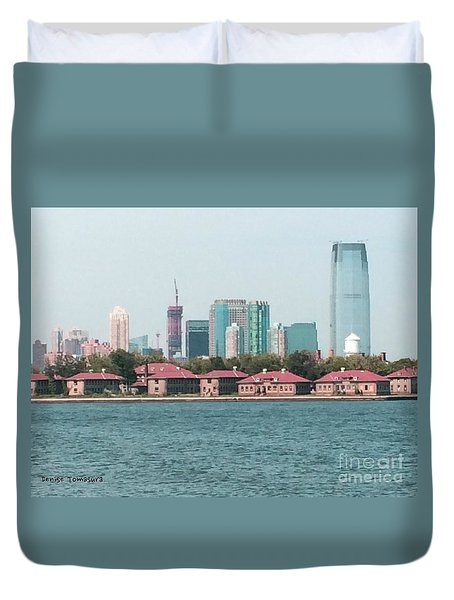 Ellis Island And Nyc Duvet Cover