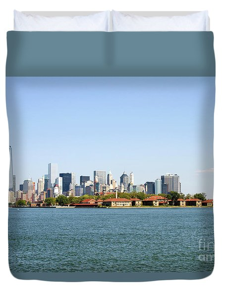 Duvet Cover featuring the photograph Ellis Island New York City by Steven Frame