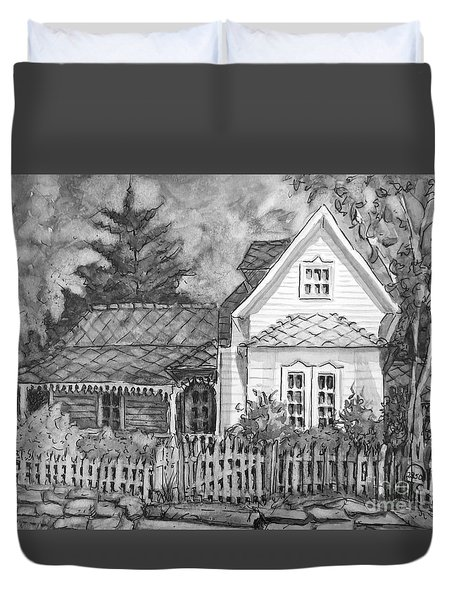 Elma's House In Bw Duvet Cover