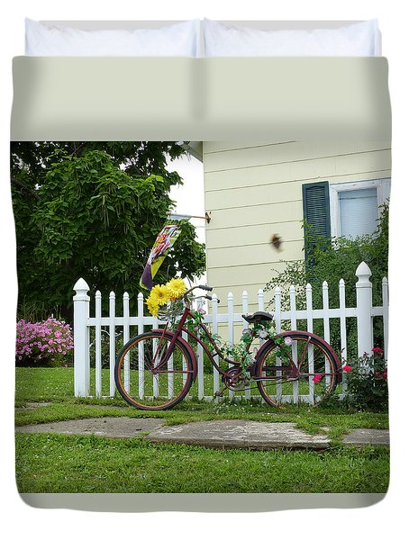 Duvet Cover featuring the digital art Elmer Bicycle by Jana Russon