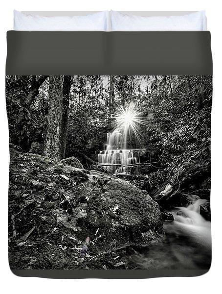 Elora Falls In Black And White Duvet Cover