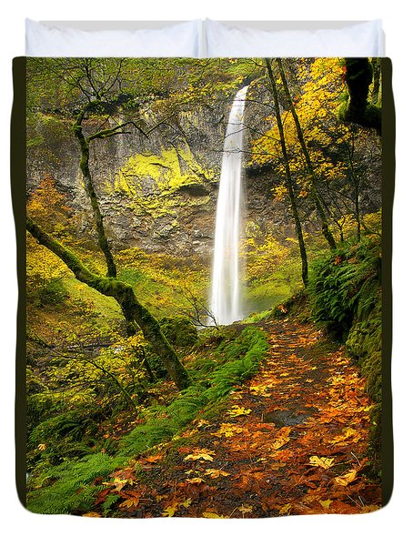 Elowah Autumn Trail Duvet Cover by Mike  Dawson