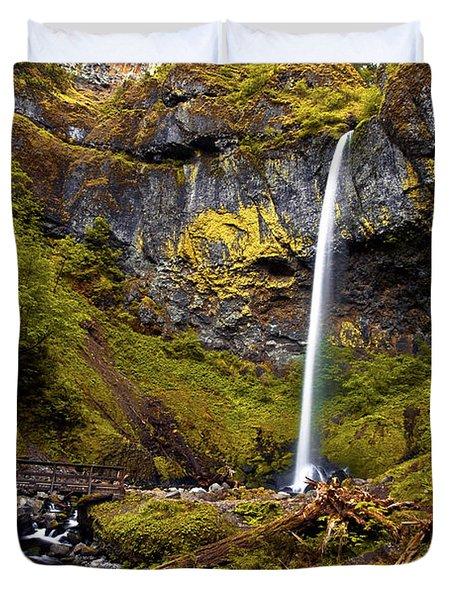 Elowah Falls Oregon Duvet Cover