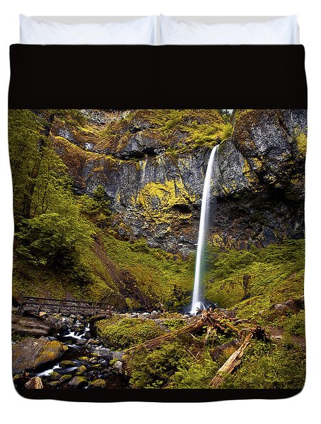 Elowah Falls Oregon Duvet Cover