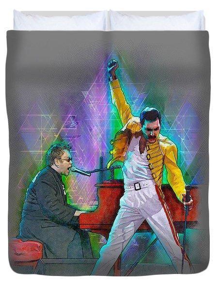 Elton And Freddie Duvet Cover