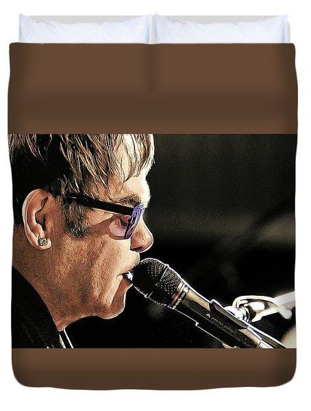 Elton John At The Mic Duvet Cover by Elaine Plesser