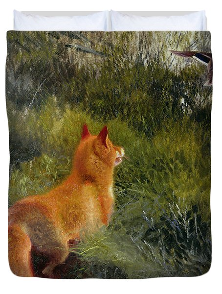 Eluding The Fox Duvet Cover by Bruno Andreas Liljefors