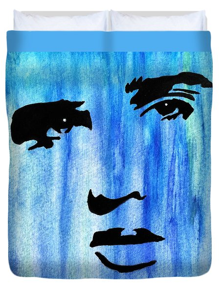 Elvis Presley Blue  Duvet Cover by Shawn Brandon
