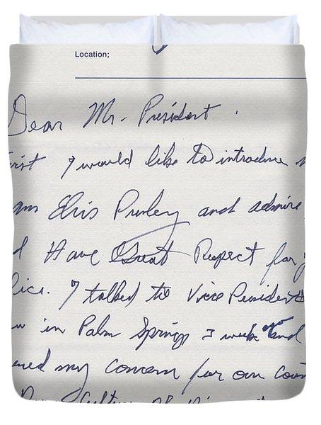 Elvis Presley Letter To President Richard Nixon Duvet Cover
