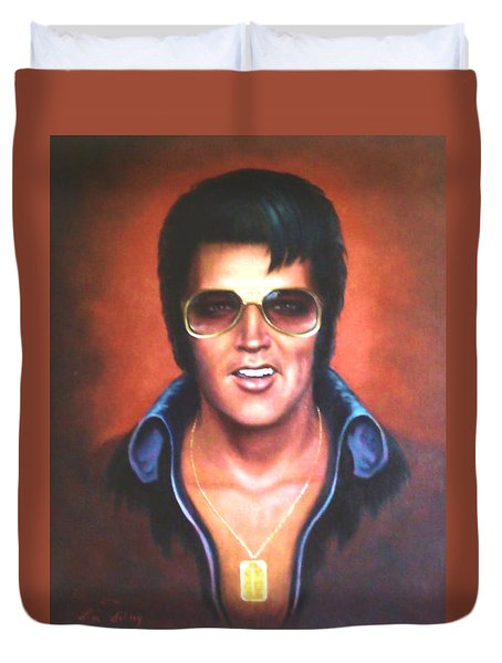 Duvet Cover featuring the painting Elvis Presley by Loxi Sibley