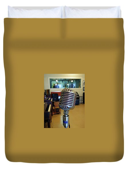 Duvet Cover featuring the photograph Elvis Presley Microphone by Mark Czerniec