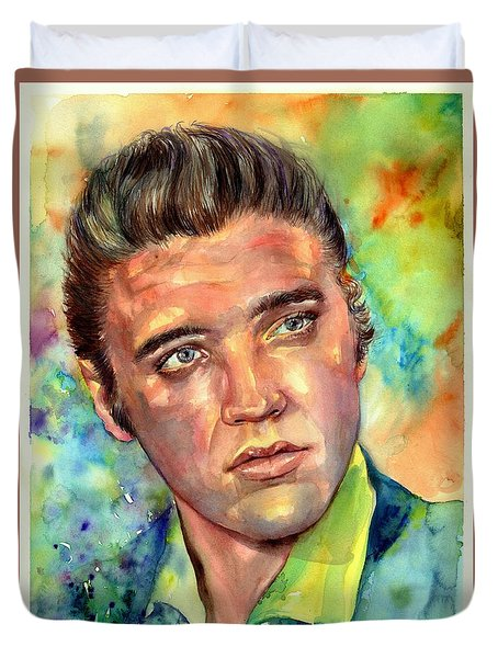 Elvis Presley Watercolor Duvet Cover