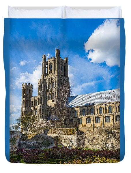 Duvet Cover featuring the photograph Ely Cathedral And Garden by James Billings
