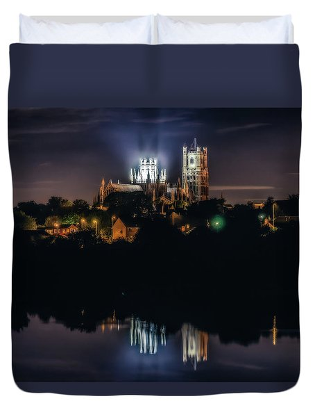 Duvet Cover featuring the photograph Ely Cathedral By Night by James Billings