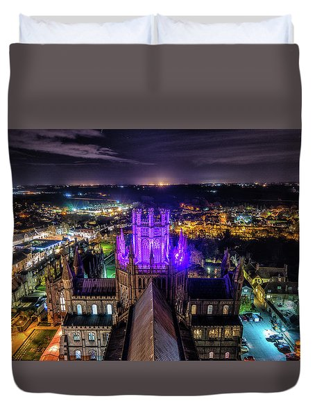 Duvet Cover featuring the photograph Ely Cathedral In Purple by James Billings