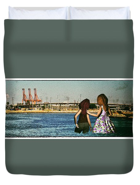 Knee Deep Looking At The Port Duvet Cover