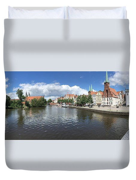 Embankment Of Trave In Luebeck Duvet Cover