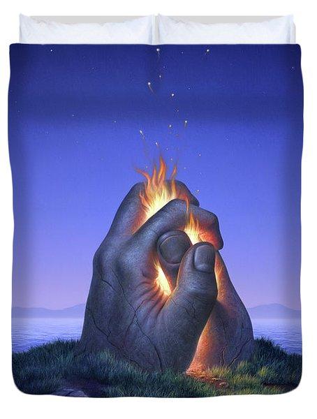 Embers Turn To Stars Duvet Cover by Jerry LoFaro