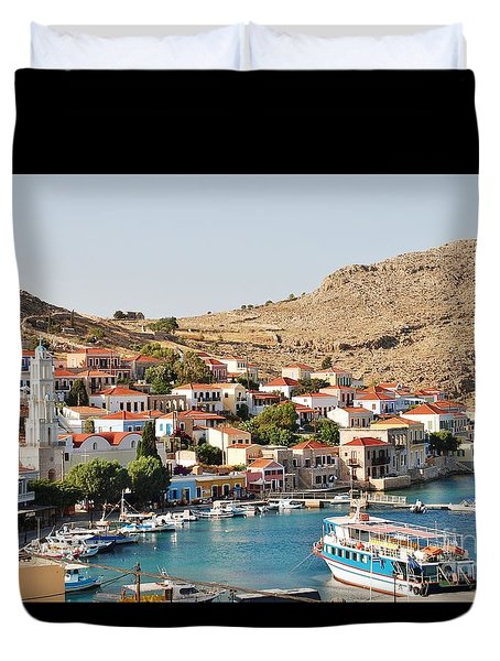 Emborio Village On Halki Duvet Cover
