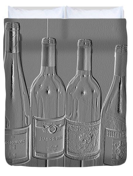 Embossed Wine Bottles Duvet Cover
