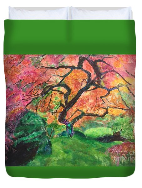 Duvet Cover featuring the painting Embrace by Mary K Conaboy