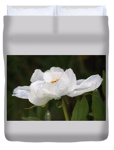 Embracing The Rain - White Tree Peony Duvet Cover by Gill Billington