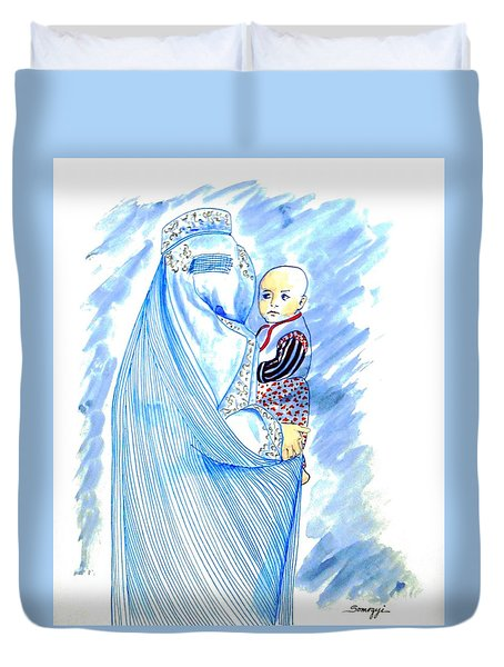 Embroidered Blue Lady-cage -- Woman In Burka Duvet Cover