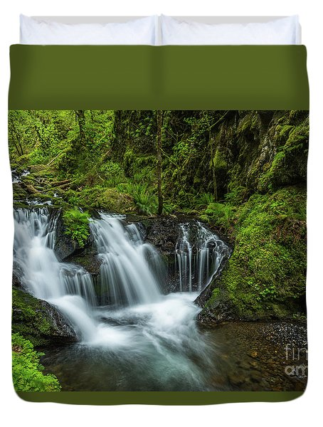 Emeral Falls Waterscape Art By Kaylyn Franks Duvet Cover