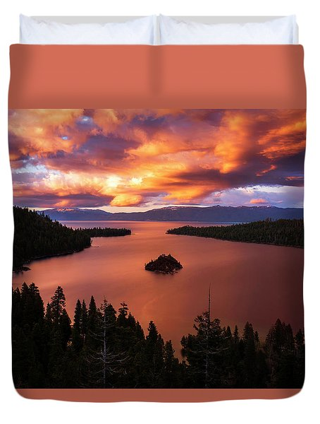 Emerald Bay Fire Duvet Cover