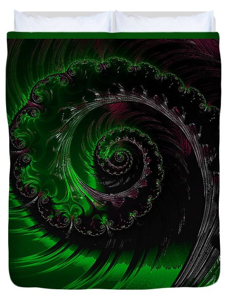 Duvet Cover featuring the digital art Emerald Forest by Kathy Kelly