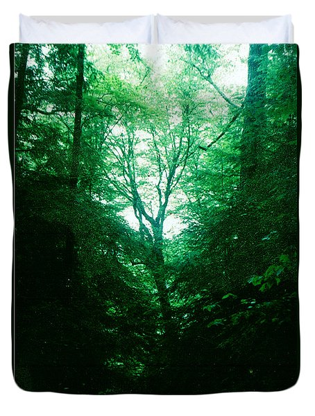 Duvet Cover featuring the photograph Emerald Glade by Seth Weaver