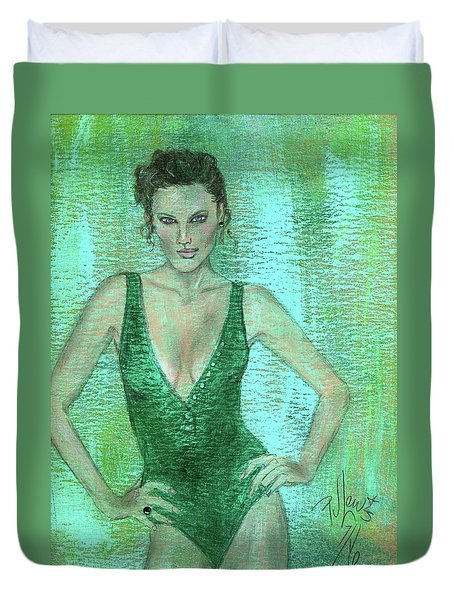 Duvet Cover featuring the painting Emerald Greem by P J Lewis