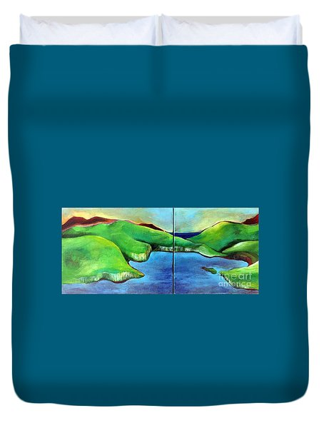 Duvet Cover featuring the painting Emerald Isles by Elizabeth Fontaine-Barr