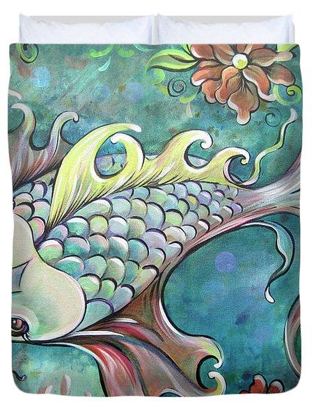 Emerald Koi Duvet Cover