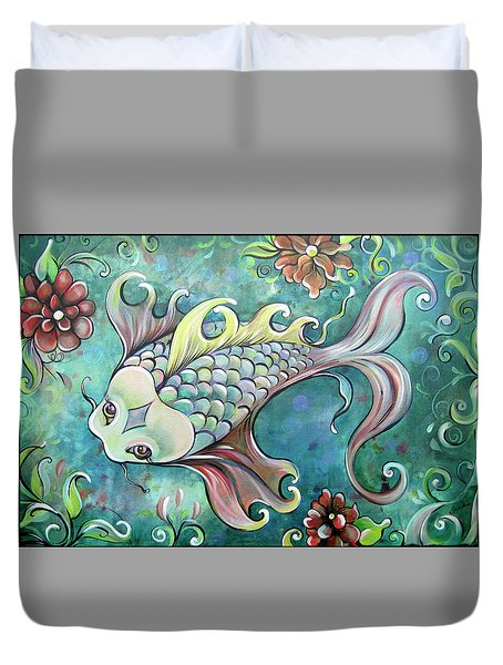 Emerald Koi Duvet Cover by Shadia Derbyshire